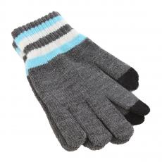 Перчатки для емкостных дисплеев трикотажные, полосы на манжетах iCasemore, серый, фото 1