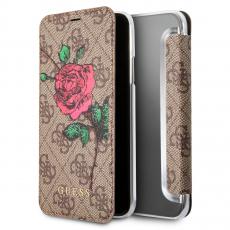 Чехол-книжка Guess Flower desire для IPhone X/Xs, поликарбонат / эко-кожа, бордовый / коричневый, фото 1