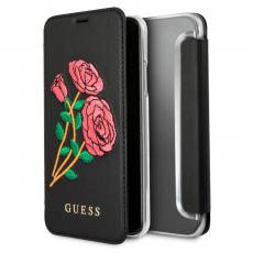 Чехол-книжка Guess Flower desire для IPhone X/Xs, поликарбонат / эко-кожа, чёрный / бордовый, фото 1