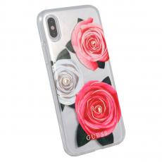 Чехол-накладка Guess Flower desire для IPhone X/Xs, поликарбонат / эко-кожа, прозрачный / розовый, фото 1