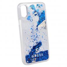 Чехол-накладка Guess Glitter Shine для IPhone X/Xs, поликарбонат, синий / прозрачный, фото 1
