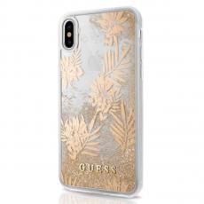 Чехол-накладка Guess Glitter Palm spring для IPhone X/Xs, поликарбонат, золотой / прозрачный, фото 1