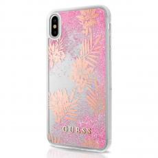 Чехол-накладка Guess Glitter Palm spring для IPhone X/Xs, поликарбонат, розовый, фото 1