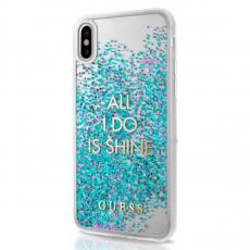 Чехол-накладка Guess Glitter Shine для IPhone X/Xs, поликарбонат, фиолетовый / прозрачный, фото 1