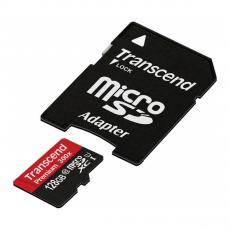 фото товара Карта памяти с адаптером Transcend microSDXC UHS-1 Class 10, 128GB, TS128GUSDU1