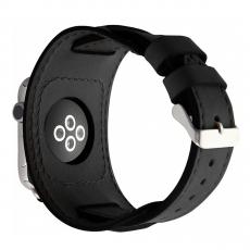 Кожаный ремешок Cozistyle Wide Leather Band для Apple Watch, черный, фото 1