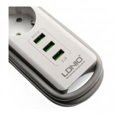 Сетевой фильтр LDNIO 3U, 3 розетки + 3 USB-A, 1.8 метра, белый, фото 3