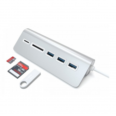 фото товара USB-хаб и картридер Satechi Aluminum USB 3.0 Hub & Card Reader серебристый (ST-3HCRS)