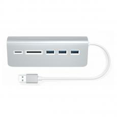 фото товара USB-хаб и картридер Satechi Aluminum USB 3.0 Hub & Card Reader серебристый (ST-3HCRS)
