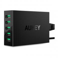 Сетевое зарядное устройство Aukey, 5 USB-A, 50W, 10А, чёрный, фото 1