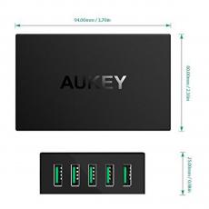 Сетевое зарядное устройство Aukey, 5 USB-A, 50W, 10А, чёрный, фото 3