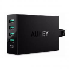 Сетевое зарядное устройство Aukey PA-Y5, 4 USB-A и 1 USB-C, 54W, чёрный, фото 1