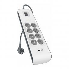 Сетевой фильтр Belkin Surge Protectors, 8 розеток + 2 USB-A, белый, фото 1