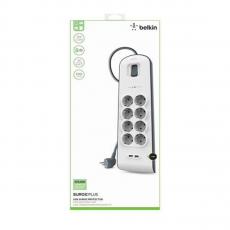 Сетевой фильтр Belkin Surge Protectors, 8 розеток + 2 USB-A, белый, фото 2