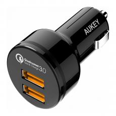 Автомобильное зарядное устройство Aukey Quick Charge 3.0, 2 USB-A , 3A, чёрный, фото 1