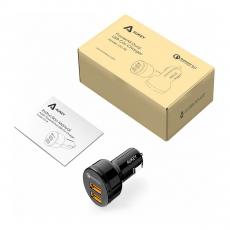 Автомобильное зарядное устройство Aukey Quick Charge 3.0, 2 USB-A , 3A, чёрный, фото 3
