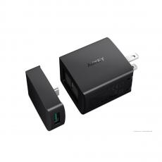 Зарядное устройство Aukey USB-C + переходник на USB-A, 29 Вт, черное-фото