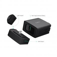 Зарядное устройство Aukey USB-C + переходник на USB-A, 29 Вт, черное, фото 1