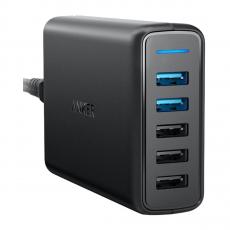 Сетевое зарядное устройство Anker PowerPort, 5 USB-A, 63W, чёрный, фото 1