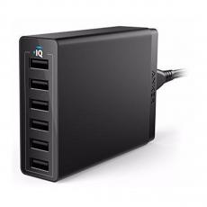 Сетевое зарядное устройство Anker PowerPort, 6 USB-A, 60W, чёрный, фото 1