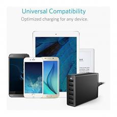 Сетевое зарядное устройство Anker PowerPort, 6 USB-A, 60W, чёрный, фото 3