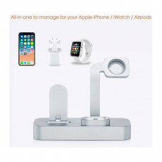 Док-станция COTEetCI Base19 Dock для Apple Watch / iPhone и AirPods, серебристый, фото 2