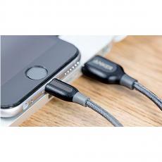 Кабель Anker PowerLine+, с USB-A на Lightning, 30 см, кевлар, 6000+ перегибов, серый, фото 4