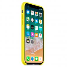 Чехол Apple силиконовый для iPhone X, «желтый неон», фото 3