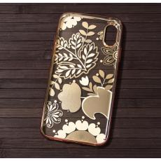 Чехол-накладка для iPhone X Devia Crystal Blossom, розовое золото, фото 1
