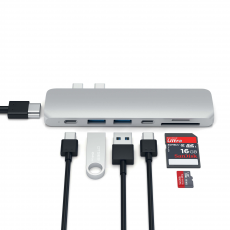 Хаб Satechi Aluminum Pro, с USB-C, серебристый, фото 1