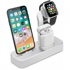 Док-станция COTEetCI Base19 Dock 3 в 1 для Apple Watch / iPhone / AirPods, серебристый, CS7201-TS, фото 1