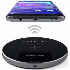 Беспроводное зарядное устройство Satechi Wireless Charging Pad (Qi fast charge), серый, ST-WCPM, фото 2