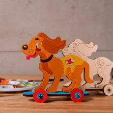 """Деревянный 3D-пазл раскраска Ugears """"Котенок и щенок"""", фото 1"""