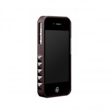 Бампер More Glam Rocka Metal Jelly Ring Leather Series для iPhone 4/4S, черный, фото 2