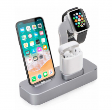 Док-станция COTEetCI Base19 Dock 3 в 1 для Apple Watch / iPhone и AirPods, серый, фото 1
