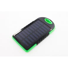 Внешний аккумулятор 8000 мАч с солнечными батареями, 20 LED фонариком и карабином, черный, фото 1