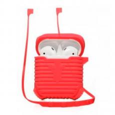 Чехол силиконовый с держателем COTEetCI Suit для AirPods, красный, фото 1