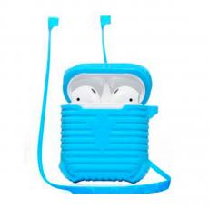 Чехол силиконовый с держателем COTEetCI Suit для AirPods, синий, фото 1
