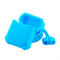 Чехол силиконовый с держателем COTEetCI Suit для AirPods, синий, фото 2