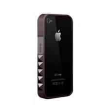 Бампер More Glam Rocka Metal Jelly Ring Leather Series для iPhone 4/4S, черный, фото 1