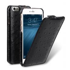 Чехол-флип Melkco Ostrich Jacka для iPhone 5/5s/SE, натуральная кожа, чёрный, фото 1