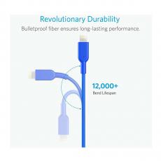 Кабель Anker PowerLine II, с USB-A на Lightning, 90 см, кевлар, 10000+ перегибов, синий, фото 2