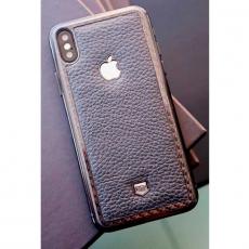 Карбоновое стекло Jumo Carbon Glass на iPhone X, кожа Dakota, никель с посеребрением, фото 1