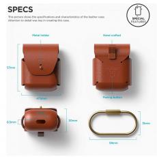 Кожаный чехол Elago для AirPods, коричневый, фото 2