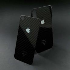 Наклейка Jumo Carbon Sticker на iPhone X, черный карбон, никель с серебрением, фото 1
