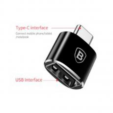 Переходник Baseus USB Female To Type-C Male, черный, фото 1