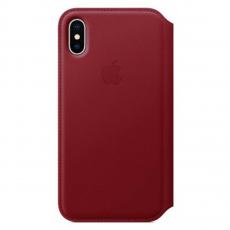 Чехол-книжка Apple кожаный для iPhone X, красный, фото 1