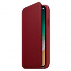 Чехол-книжка Apple кожаный для iPhone X, красный, фото 2