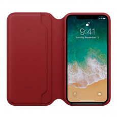 Чехол-книжка Apple кожаный для iPhone X, красный, фото 3