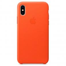 Кожаный чехол Apple для iPhone X, ярко-оранжевый, фото 1